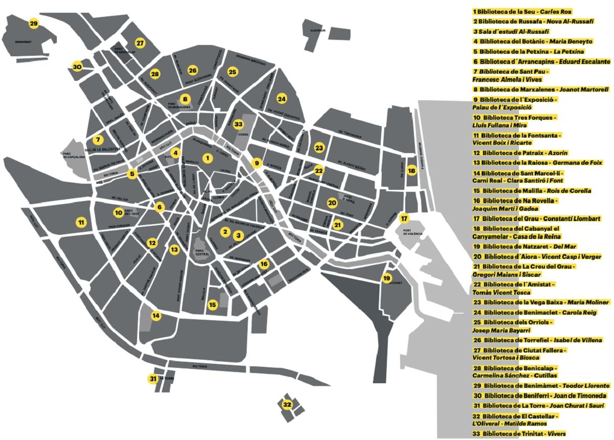 mapa bibliotecas publicas valencia