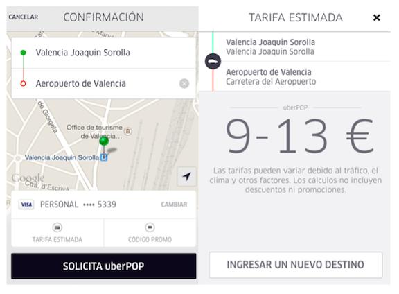 precios uber valencia