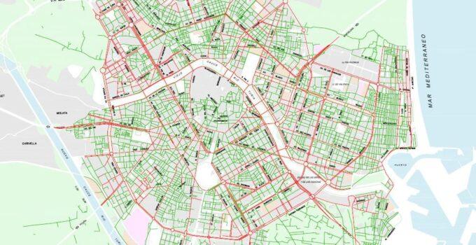 Mapa y Calles de la Zona 30 y 50 de Valencia