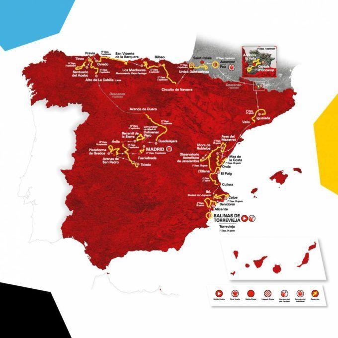 mapa vuelta ciclista espana