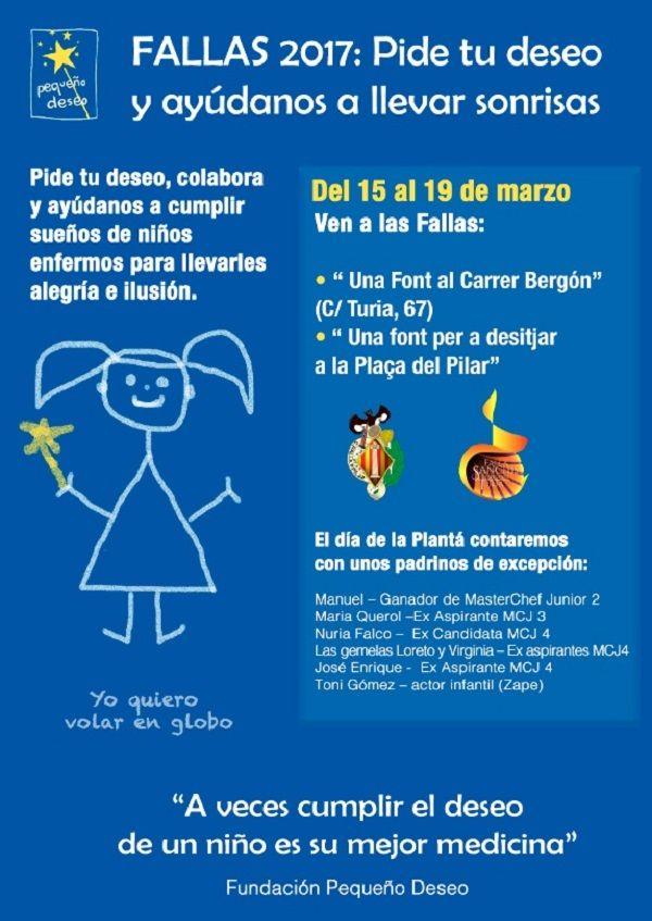 Fundación Pequeño Deseo se une a las Fallas para seguir cumpliendo los deseos de los niños valencia