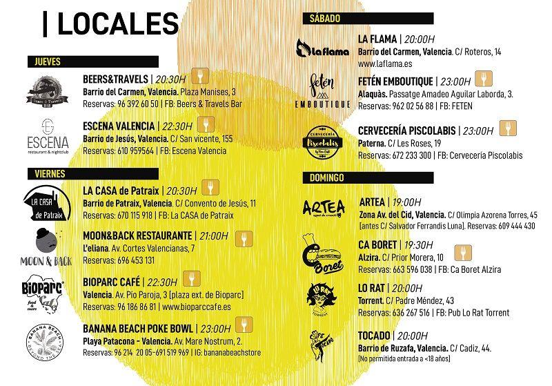 Programación Circuito Café Teatro Octubre valencia