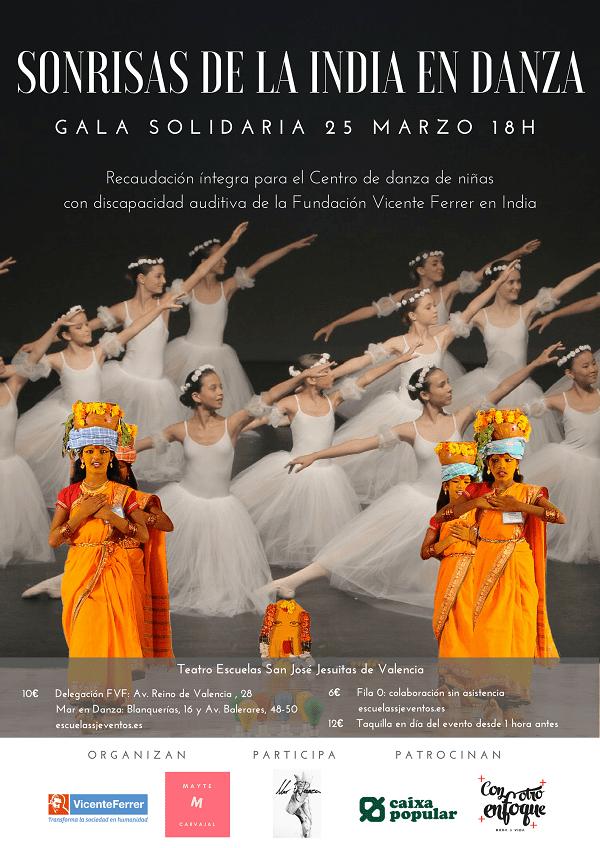Cartel sonrisas de la India en danza
