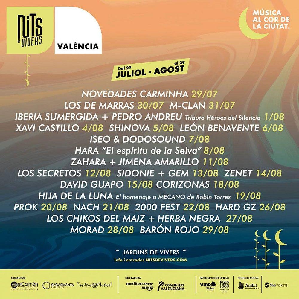 Nits de Vivers, música y espectáculos en las noche de verano valencia
